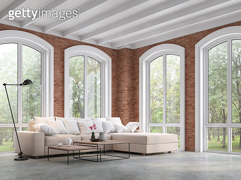 Loft style living room with red brick wall 3d render