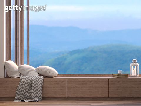 Window seats with blurry natural views 3D render