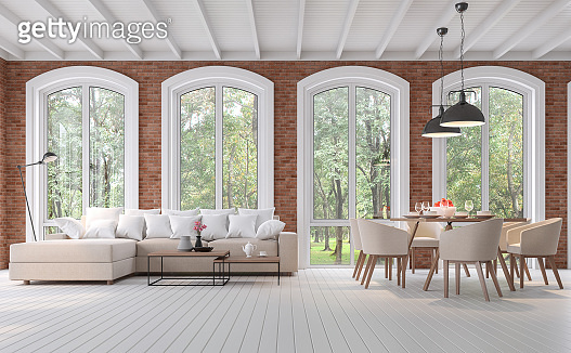 Scandinavian living and dining room with red brick wall 3d render