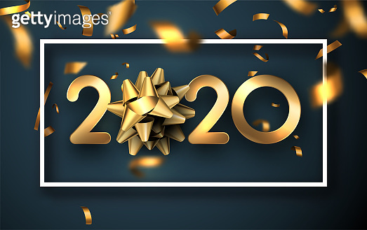 Happy New Year 2020 poster with golden blurred confetti.
