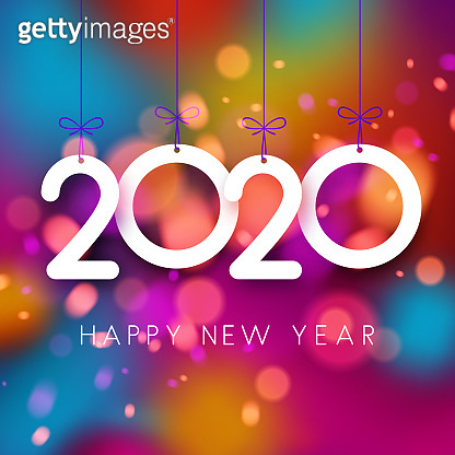 Bright colorful 2020 Happy New Year poster.