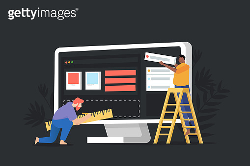 Concept  website under construction, web page building process. Modern vector illustration web page design for website