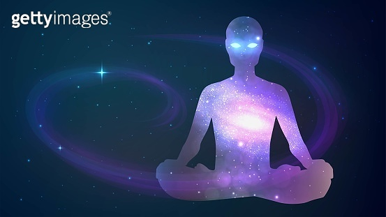 Human sitting in the lotus position on cosmos background