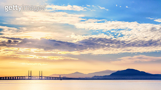 Penang Bridge view from the shore of George Town, Malaysia