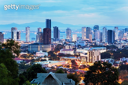 Cityscape view of George Town Penang during dawn