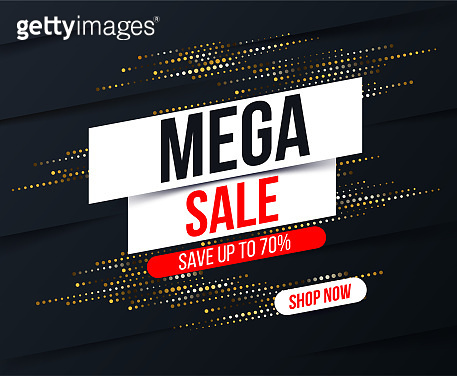 Abstract Mega sale banner with gold halftone glitter effect for special offers, sales and discounts. Promotion and shopping template for Black Friday 70% off