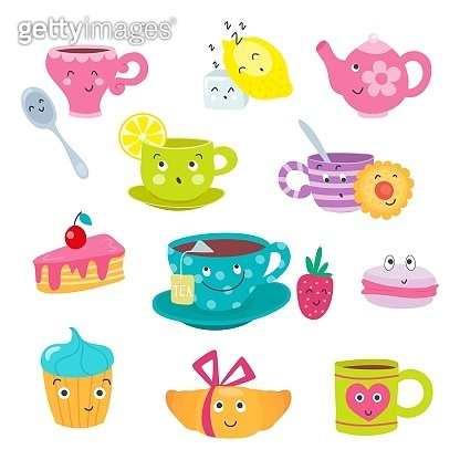 Funny cartoon tea cups faces with emotions. Cute mugs and sweets emojis. Teacups and teapot, cake and macaroon with smile. Vector illustration, cartoon flat style.