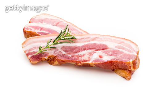 Pieces of raw pork lard isolated on white background.