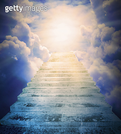 The Stairs to heaven. Way for a salvation . Religion metaphor.
