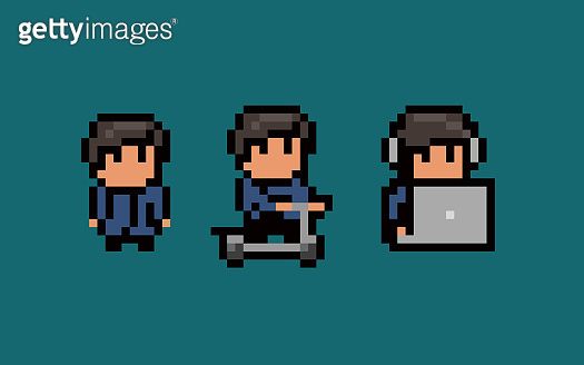 Three pixel art male characters, standing still, using notebook and headset, riding a scooter.