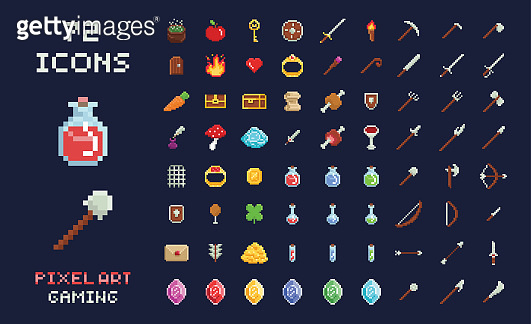 Pixel art vector game design icon video game interface set. Weapons, food, items, potion, magic.