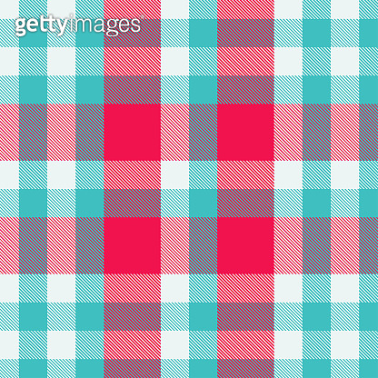 Tartan red and cyan seamless pattern.