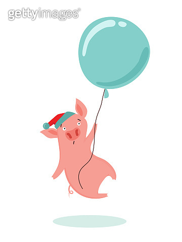 Sweet scared little pig flying in a hot air balloon. Cute pink pig with Santa red hat. Happy New Year 2019 . Vector illustration