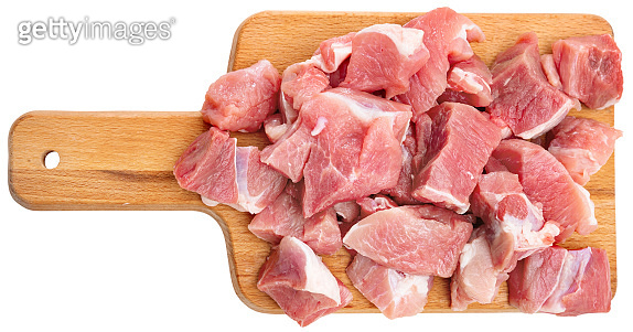 Tasty raw pork sliced before cooking