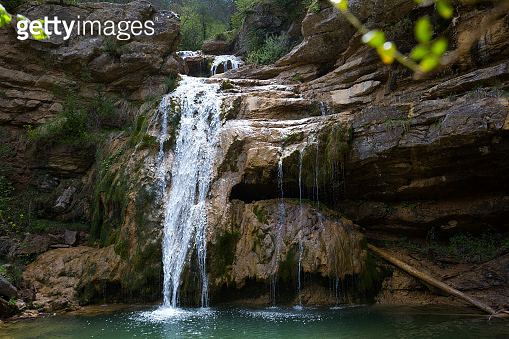 Waterfall in Catalonia surrounded by beautiful forests
