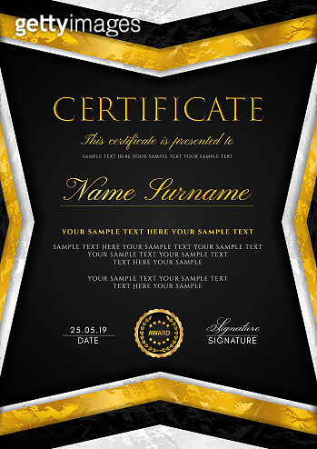 Certificate template with frame and gold badge. Black background design for Diploma