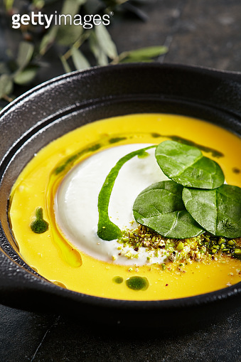 Cream Soup with Ricotta Cheese Mousse