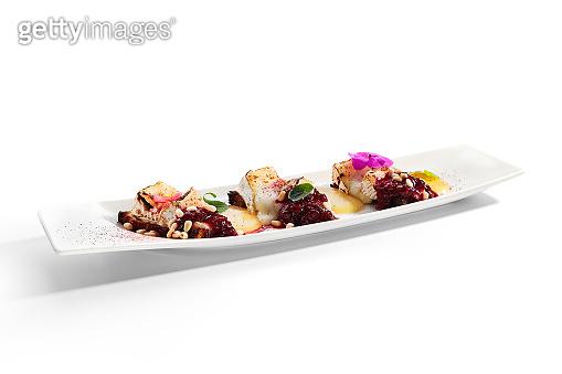 Beetroot carpaccio with stracciatella cheese