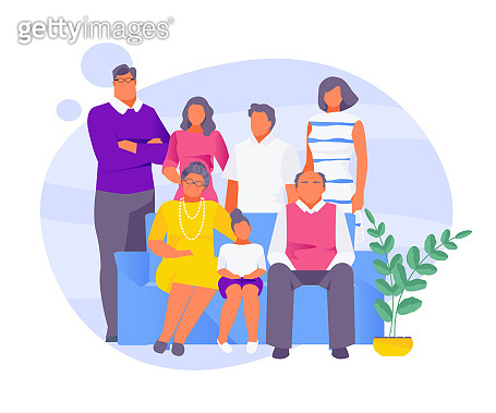 Big family on the couch