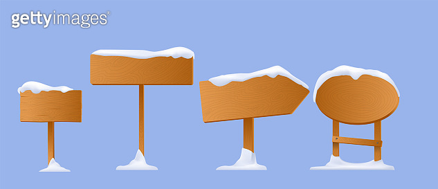 Winter wooden sign with snow, wooden sign winter on white background