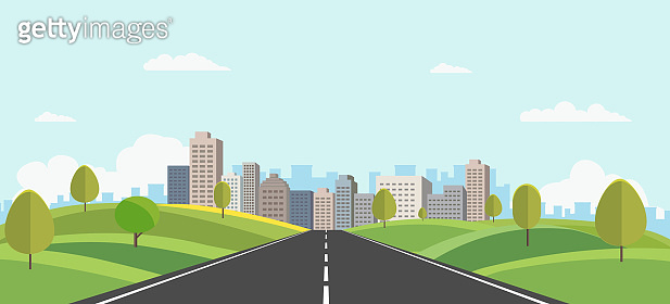Hills landscape with cityscape on background vector illustration.Public park and town with sky background.Beautiful nature scene with road to city.