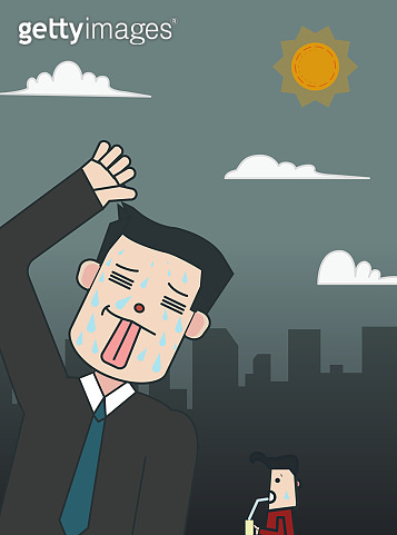 Business man cartoon in town with hot weather.Hot weather with city concept.People heat from weather in urban.Man tired to high temperature