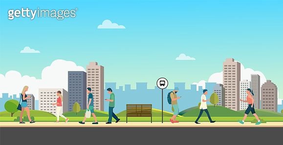 People with public park in city.Beautiful scene park and man walking.People leisure activities in park.Lifestyle  relaxed in town vector illustration
