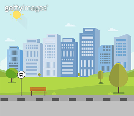 Bus stop on main street with nature park and city background.Public park with buidings.Beautiful cityscape scene with nature landscape vector illustration.