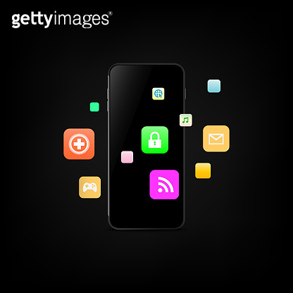 smart phone and application icon. vector illustration eps10