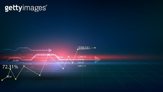 the showing a growing virtual hologram of statistics, graph . vector illustration eps10