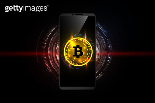 Golden bitcoin digital currency on smartphone, futuristic digital money, technology worldwide network concept, vector illustration