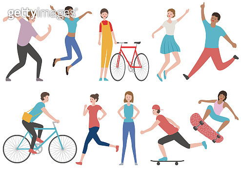 Set of people in various lifestyle isolated on a white background.