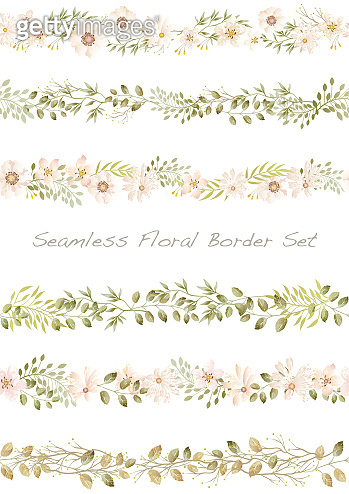 Seamless watercolor floral border set, vector illustration.