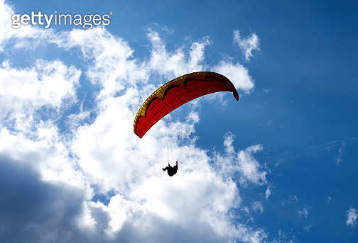 Paraglider in the Alps of Tux in Austria