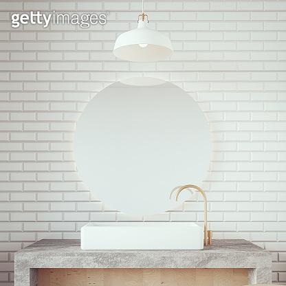 Loft & Modern basin bathroom / 3D render interior