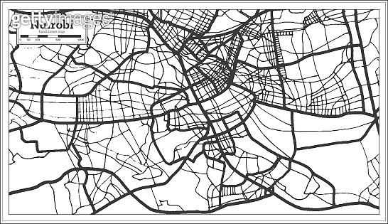 Nairobi Kenya City Map iin Black and White Color. Outline Map.
