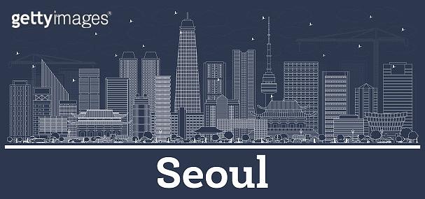 Outline Seoul Korea Skyline with White Buildings.