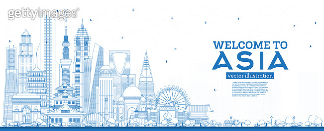 Outline Welcome to Asia Skyline with Blue Buildings.