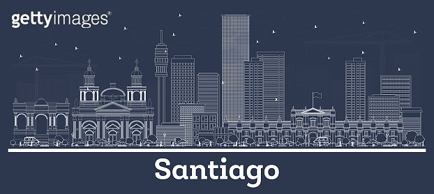 Outline Santiago Chile City Skyline with White Buildings.