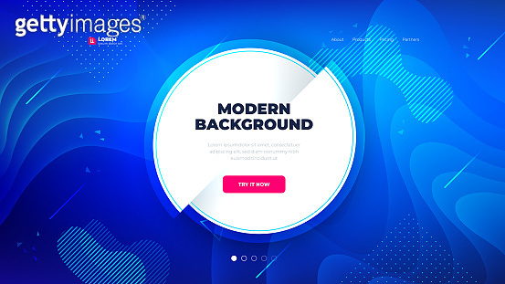 Light circle shape with dark blue Liquid color background design for Landing page site. Eps10 vector.