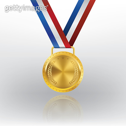 Realistic 3d Champion Gold medal with red ribbon vector illustration