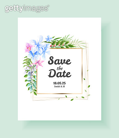 Wedding Invitation card, save the date, thank you, rsvp template. Vector watercolor flowers, lily, Ivy plants