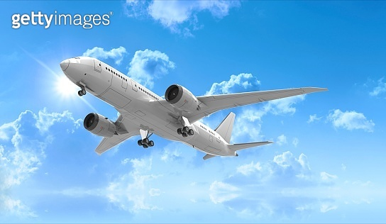 Airplane isolated on Sky 3D Rendering