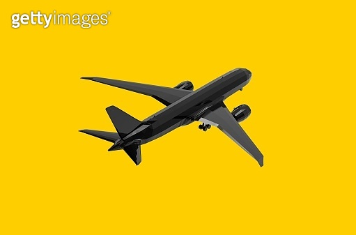 Airplane flying on yellow background 3D Rendering
