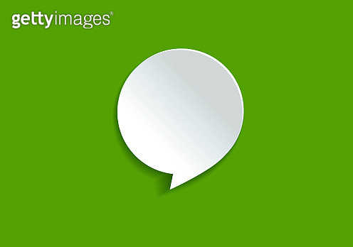 Chat Concept - White Square Shaped Chat Bubble Over Green Background