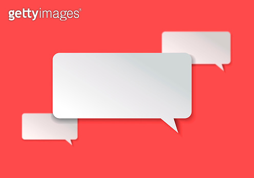 Chat Concept - White Square Shaped Chat Bubble Over Red Background