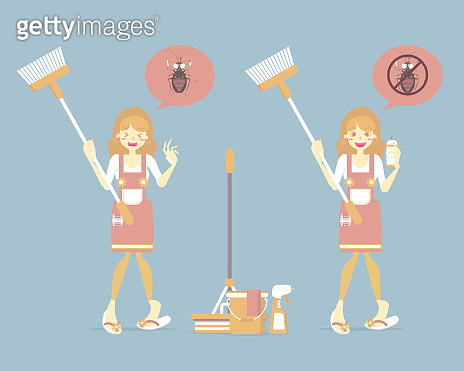 woman holding broom, cleaning house with mop, bucket, spray, cockroach, pest control, chore concept