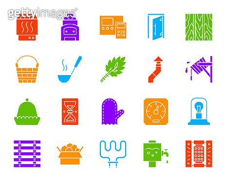 Sauna Equipment color silhouette icons vector set
