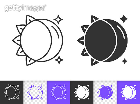 Moon Sun simple black line vector icon