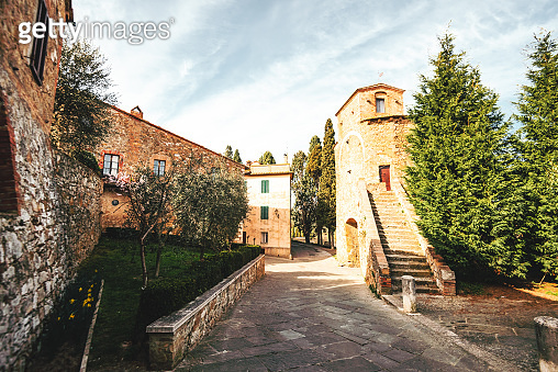 medieval view of san quirico d'orcia and pienza